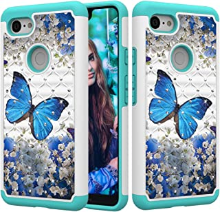 Google Pixel 3 XL Case,UZER 3D Diamond 2in1 Shockproof Luxury Glitter Sparkle Bling Rhinestone Painted Series Hard PC Soft Silicone Combo Hybrid Impact Defender Case for Google Pixel 3 XL 2018