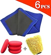 AIVS Clay Bar Towel, Fine Grade Auto Detailing Clay Rags,with Car Wash Mitt and Microfiber Wax Applicator Pads for Car Care,Quickly Removes Cars Bonded Surface Contaminants,1-Cleaning Kit
