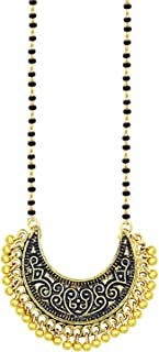 I Jewels Traditional Gold Plated Oxidise Chandbali Style Designer Black Beads Chain Mangalsutra for Women (D066)