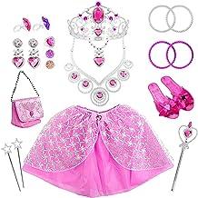 وسایل تزئینی عروسک 21 بسته پرنسس Pretend زیورآلات دخترانه ، لباس مجلسی دخترانه ، لباس مجلسی ، لوازم جشن تولد شامل تاج ، گردنبند ، دستبند ، حلقه ، گوشواره ، دستبند و دامن
