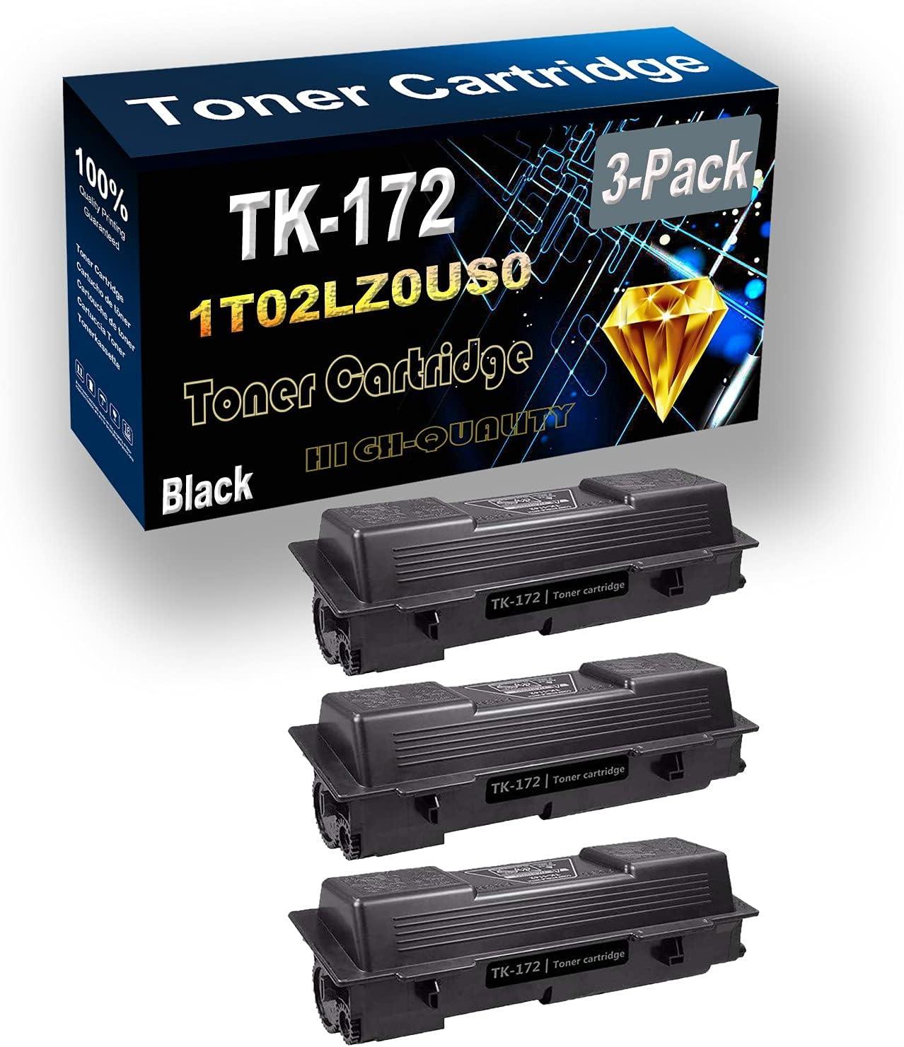 3-Pack (Black) Compatible High Yield TK172 TK-172 | 1T02LZ0US0 Laser Printer Toner Cartridge use for Kyocera FS-1320D FS-1370DN P2135d P2135dn Printer