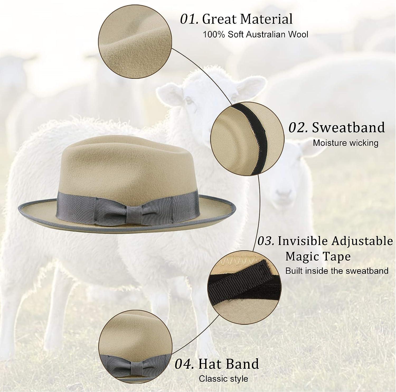 Jack/&Arrow Fedora for Men Wool Felt Gangster Panama Hat Wide Brim Adjustable Vintage