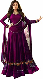 Sukhvilas Fashion Anarkali Suits for Women Faux Georgette Semi Stitched Embroidery With Stone Salwar Suit Material