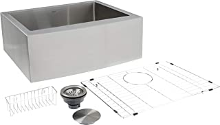 ZUHNE 24-Inch Single Bowl Farmhouse Curved Apron Front Stainless Steel Kitchen Sink 16-Gauge