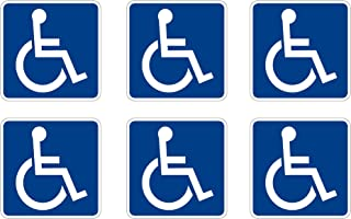 Disabled Wheelchair Symbol ADA Compliant Handicap Access Sign Pack of 6 3 X 3 Inch Blue Window Sticker Decal
