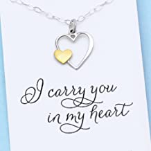 I Carry Your Heart in Mine • Remembrance Necklace • Sterling Silver & Gold Charm • Custom Keepsake Jewelry