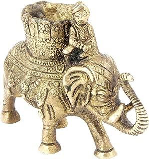 Indianshelf Handmade Brass Elephant with Mahawat Statues Decoration Designer Vintage Statement Pieces Online New