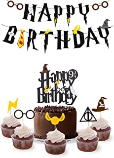 Wizard Birthday Party Supplies Set - Happy Birthday Banner, Cake Topper,Cupcake Toppers - HP Theme Party Decorations