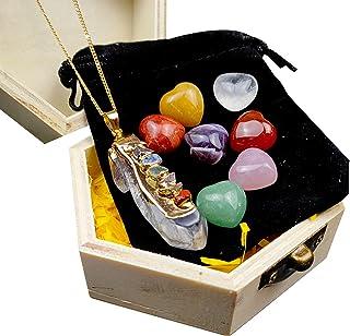 7 Chakra Stone Set (Heart-Shaped) Healing Crystals, Natural Polished Healing Gravel Crystal Meditation Palm Stones for Gift
