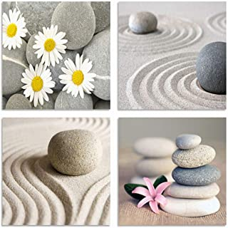 YPY Painting 4 Panels Beach Stone Sand Daisy Flower Beauty Canvas Picture for Wall Decor Home Decor Stretched by Wooden Frame 16x16in