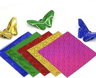 ورق لامع ثلاثي الأبعاد 50 قطعة، ورق مقوى معدني لامع قابل للطي لعمل القصاصات اليدوية (25.4 سم × 25.4 سم) من لاينرو