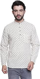 Shatranj Men's Banded Collar Shirt-Length Block Print Classic Kurta Tunic
