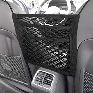 DEDC Super Duty 2-Layer Universal Car Seat Net Organizer, Mesh Cargo Net Pouch Driver Storage Netting Pouch for Purse Phone Pets Dogs Kids Disturb Stopper