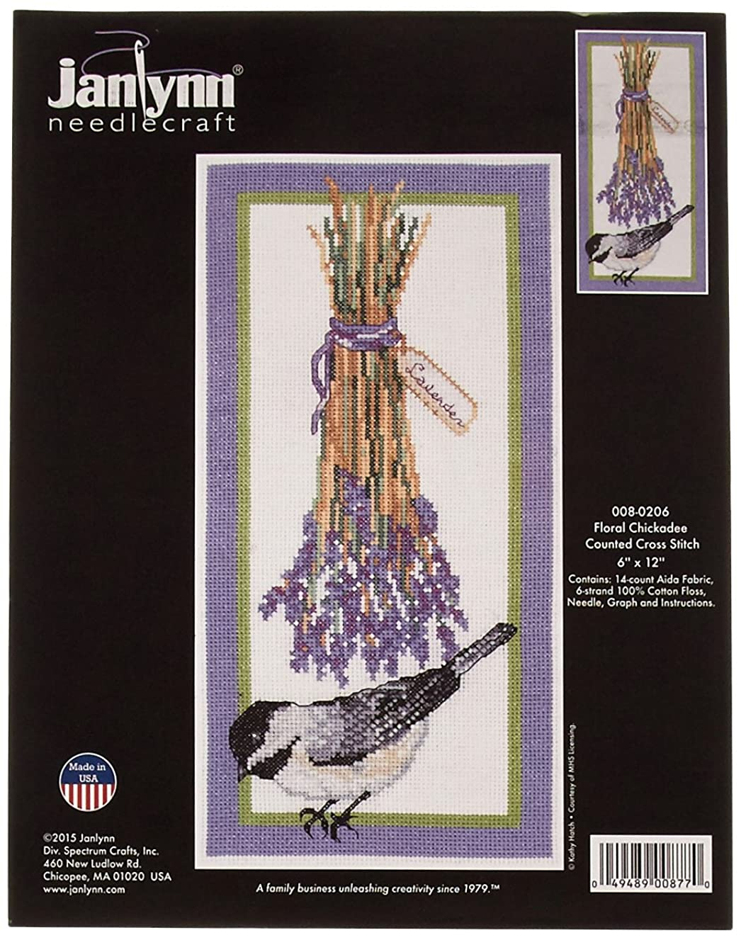 Janlynn Floral Chickadee Cross Stitch Supplies