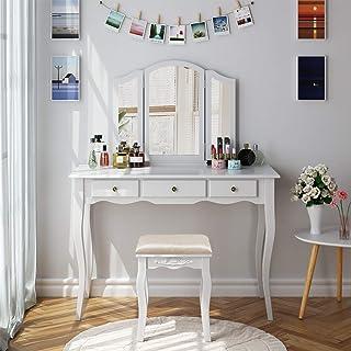 HOMECHO Tocador de Dormitorio Mesa Tocador para Maquillaje de Madera Blanca con 3 Cajónes 3 Espejos Plegados 1 Taburete T...