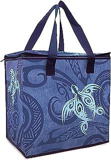Hawaiian Insulated Non-Woven Shopping Tote Tribal Honu Blue