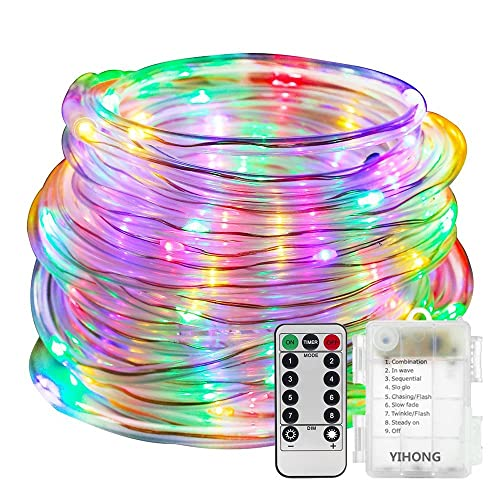 10608f8ed3 YIHONG Fairy Lights LED Rope Lights Battery Operated String Lights 33ft 8  Mode Fairy Lights Waterproof