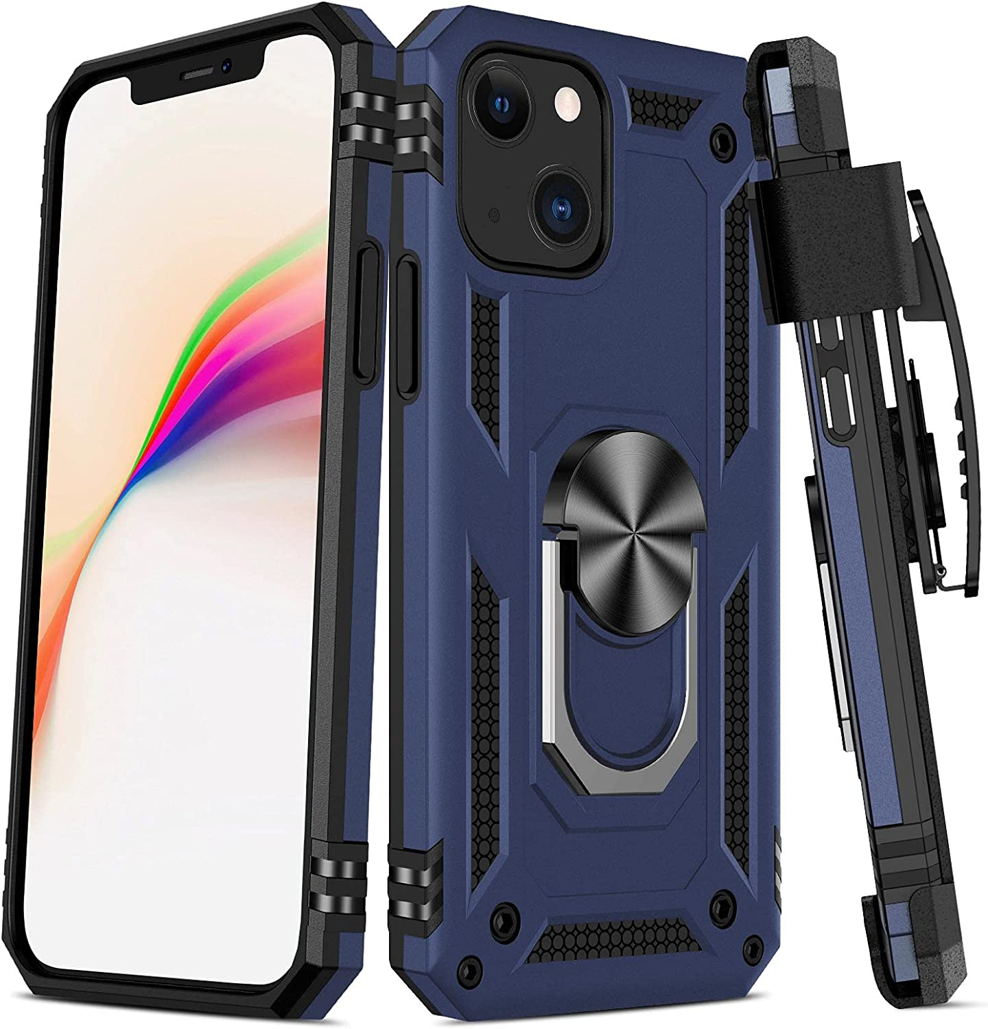 Maxdara Compatible with iPhone 13 Case, iPhone 13 Belt Clip Case Full Body Case with Ring Kickstand Dual Layer Heavy Duty Shockproof Protective Cover Case for iPhone 13 6.1 inch, Blue