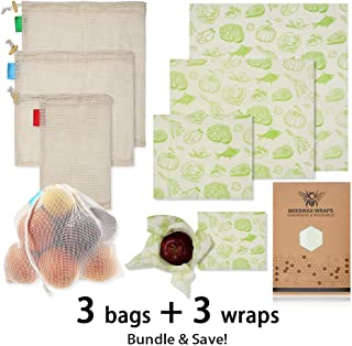 Beeswax Food Wrap for Vegetables Bread Fruit Cheese with Reusable Grocery Produce Bags, Organic Natural Alternative to Plastic/Silicone Storage Bags - Sustainable & Earth Friendly, Pack of 6 (Veggies)