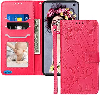 JanCalm for Galaxy S10e Case New Elephant/Flower Pattern PU Leather Wallet Protection[Card Holder/Cash Slots][Wrist Strap] Stand Flip Magnetic Cover for Women Girl Samsung Galaxy S10e Case (Red/Rose)