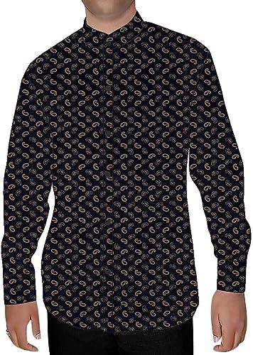 INMONARCH Hommes Foncé Marine Chemises à Col Nehru Imprimé Paisley NSH17029