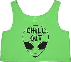 Chill Out (Alien Head) Bright Neon Womens Crop Tank