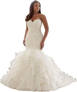 89338aea04a Wanshaqin Women s Mermaid Sweetheart Strapless Beaded Wedding Dress for  Brides Organza Ruffled Bridal Gowns Plus Size