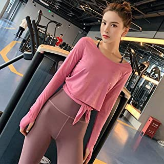 Lace-Up Sports Shirt Female Loose Yoga Clothes Long-Sleeved Open-Back Blouse Running Sexy Fitness Clothes,Pink,L