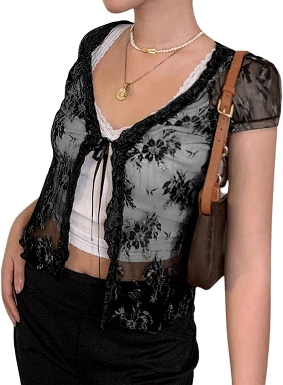 Remidoo Women's Lace Mesh Tie Up Crop Top Short Sleeve Open Front Cropped Cardigan