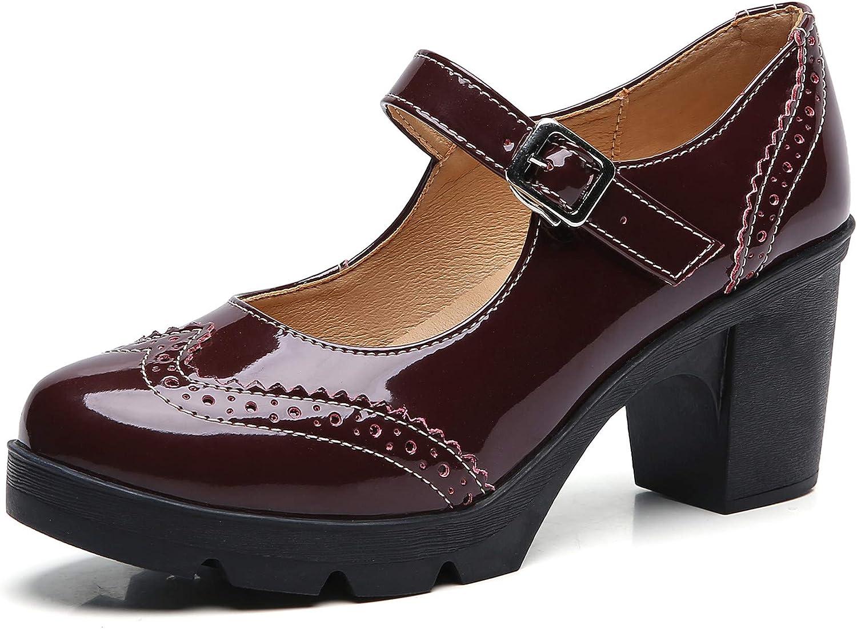 DADAWEN Women's Leather Classic shop Platform Mid Jane Mary Squa Beauty products Heel