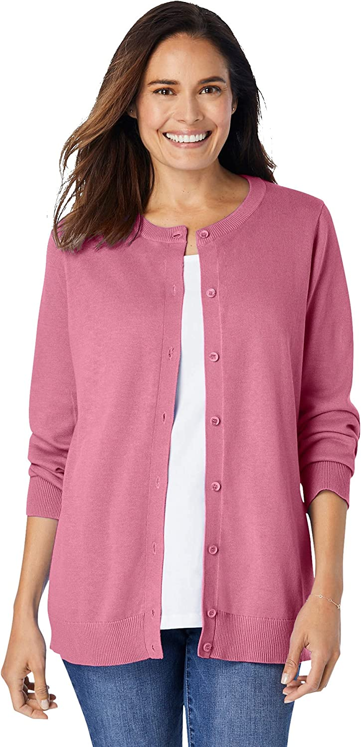 Woman Within Women's Plus Size Perfect Long-Sleeve Cardigan Sweater