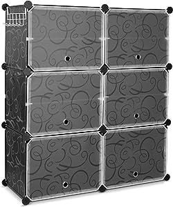 Homfa 10 Cube de Rangement Etagère à Chaussure avec 6 Portes en Plastique DIY pour Salon Chambre Entré 80×30×91cm Noir et Blanc