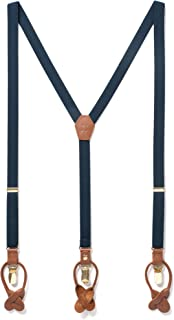 Thin Y Suspenders For Men with Elastic Strap & Interchangeable Clips