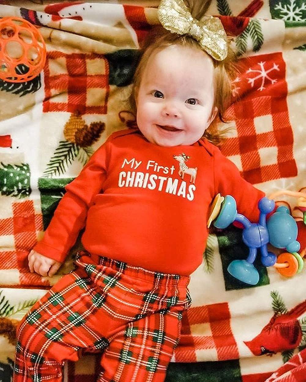 Mengz Newborn Baby Girls Christmas Outfits My First Christmas Romper Top Plaid Pants Pajamas Clothing Set 0-24M