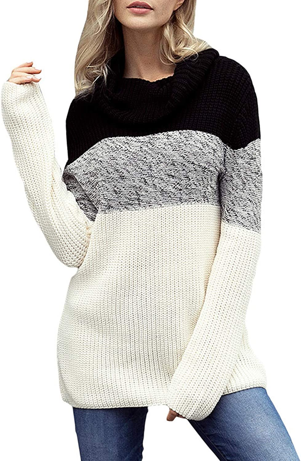 CEFULTY Women's Long Sleeve color Block Casual Turtleneck Jumper