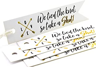 Summer-Ray 50pcs Gold Foil Hot Stamping White Pennant Flag Tied The Knot Take a Shot Wedding Favor Gift Tags