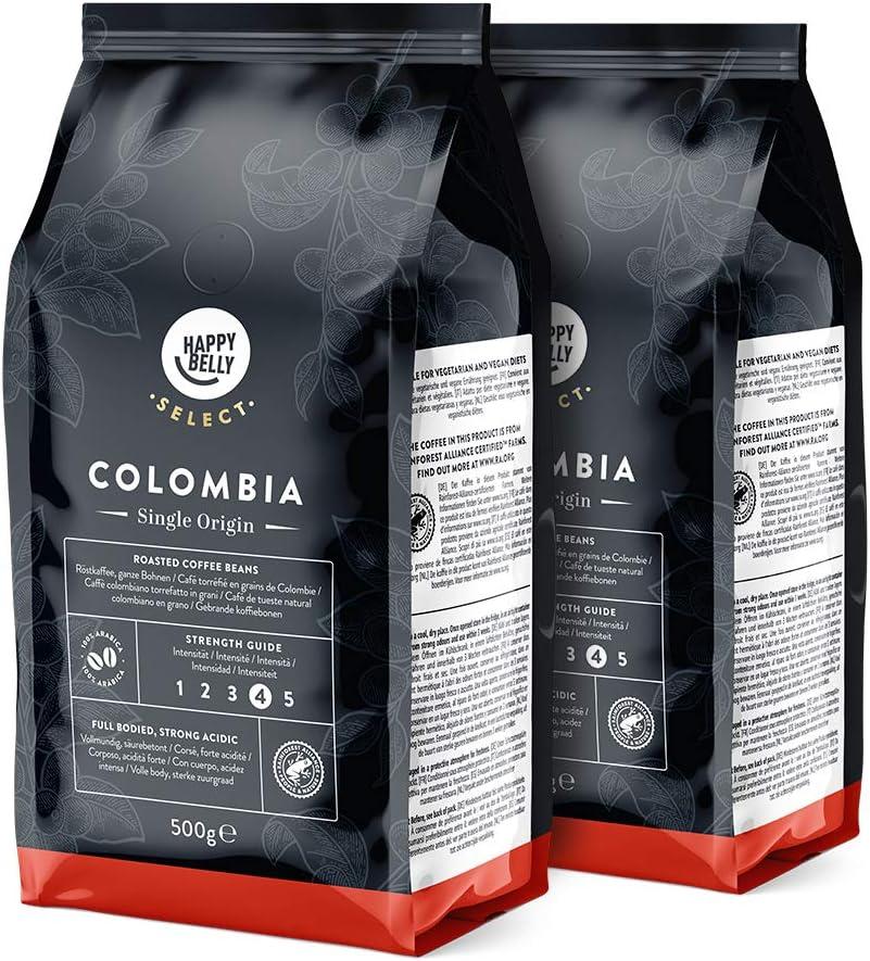 Marca Amazon - Happy Belly Select Café de Colombia en Grano - 1Kg (2 Paquetes x 500g)