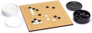Yellow Mountain Imports Beechwood Veneer 0.4-Inch Etched Beginner's Reversible 9x9/13x13 Go Game Set Board with Single Con...