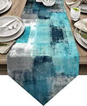 ARTSHOWING Turquoise Grey Table Runner Farmhouse Style Burlap Table Runner Modern Abstract Art Table Runners for Family Ki...