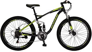 "OBK E7 Mountain Bike 21 Speed Bicycle 27.5"" Full Suspension Mens Bikes Daul Disc Brakes MTB (Yellow)"