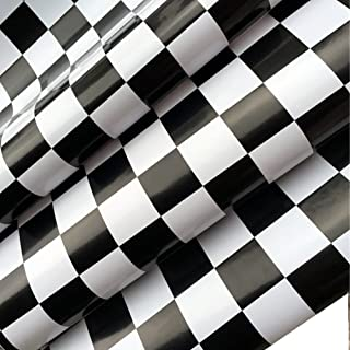REDODECO Adhesive White Black Mosaic Backsplash Tiles Gloss Vinyl Film Kitchen Countertop Peel Stick Wallpaper Shelf Liners 17.7inx100inch Roll