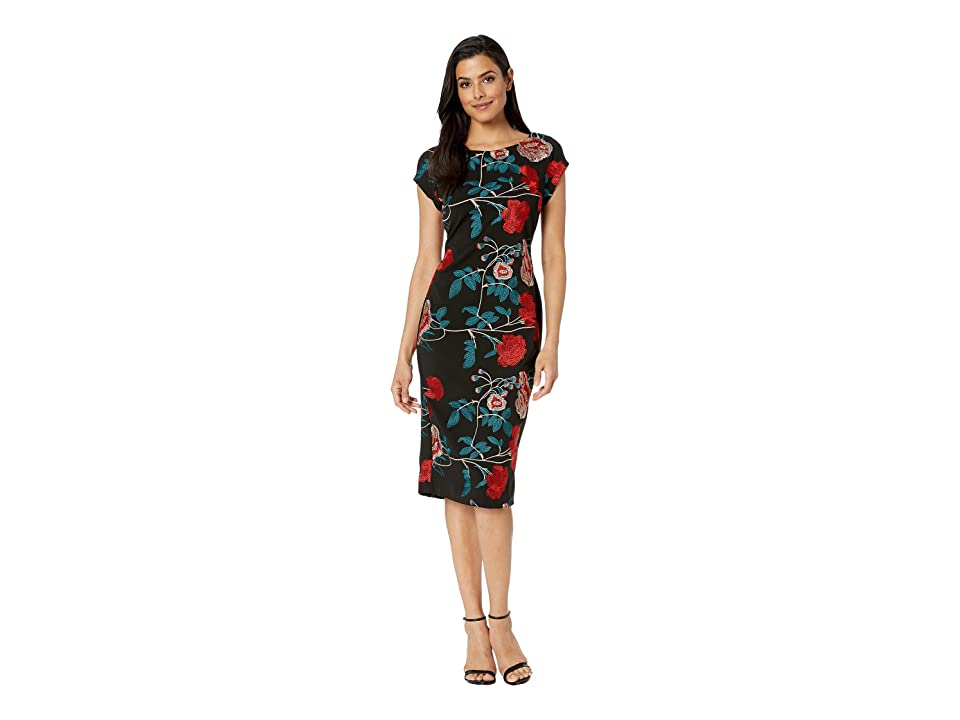 eci Floral Embroidered Cap Sleeve Sheath Dress (Black/Teal) Women