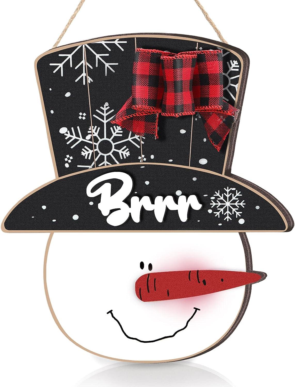 Thyle Christmas Snowman Door Hanger Wooden Front Door Hanger with Buffalo Plaid Bow Snowman Door Wall Plaque Sign Christmas Hanging Door Decor for Christmas Winter Party Home Front Door Decoration