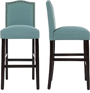 LSSBOUGHT Nailhead Barstools with Solid Wood Legs, Set of 2(Laguna)