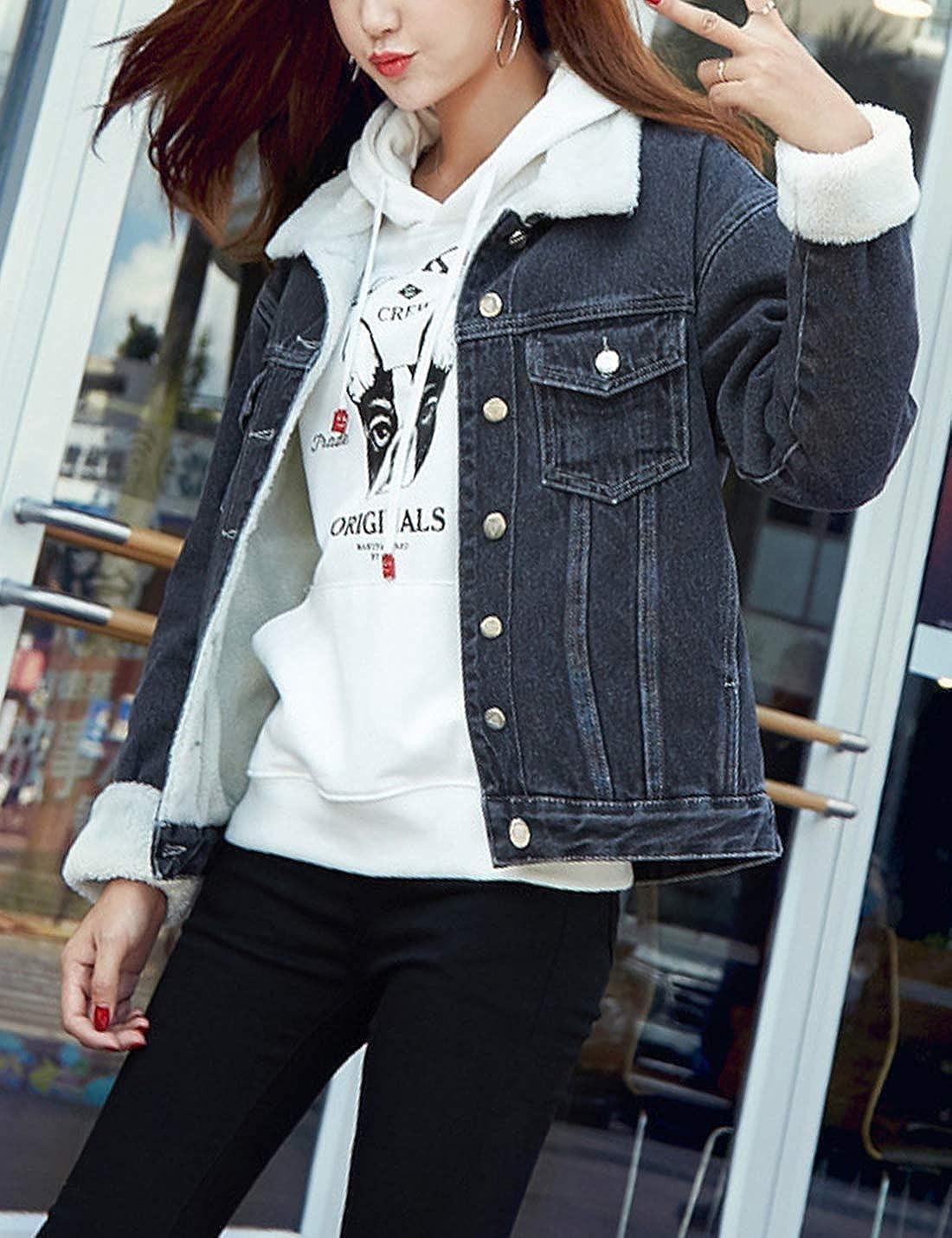 HaoMay Women's Winter Denim Jacket Sherpa Lined Loose Short Coat Overcoat