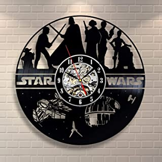 Wood Crafty Shop Star Wars Character Print Vinyl Record Wall Clock Gift for Him and Her Unique Wall Decor The Best Gift Idea for Any Event Birthday Gift, Wedding Gift