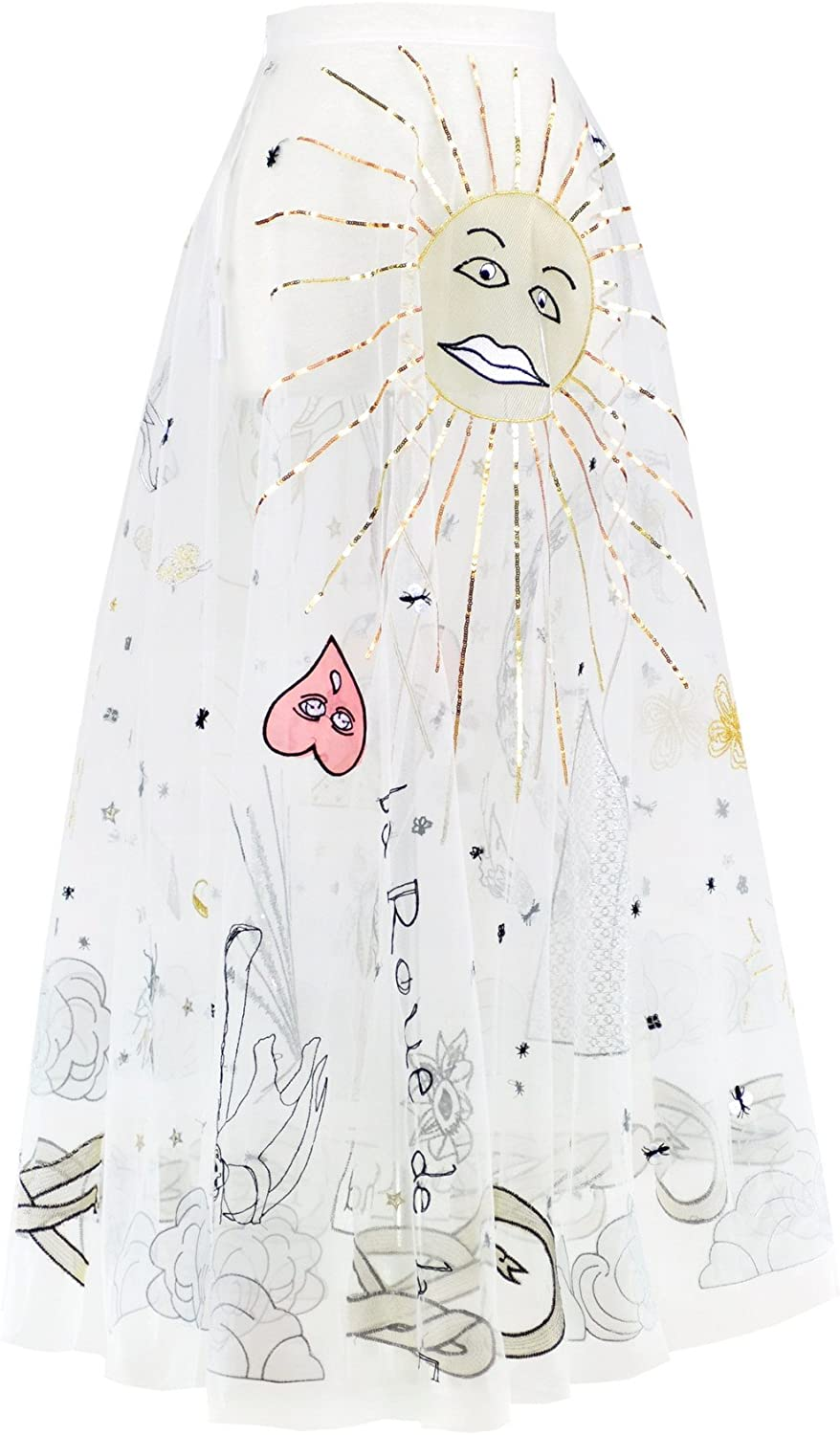 Get The Looks Graffiti Embroidered Tulle SeeThrough Long Skirt
