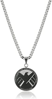 "Marvel Comics Men's Stainless Steel Shield Chain Pendant Necklace, 24"""
