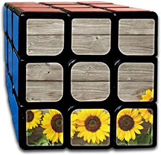 Wooden Sunflowers Trendy Speed Cube 3x3 Smooth Magic Square Puzzle Game Black