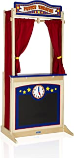 Guidecraft Wooden Floor Puppet Theater For Kids: Includes Chalkboard, Curtains, Clock and Interchangeable Signs - Toddler ...